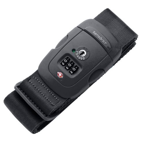 Samsonite Luggage Strap with 3-Dial Combination Lock, Black