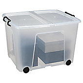 Strata Plastic 75L Stackable Storage Box with Lid and Wheels