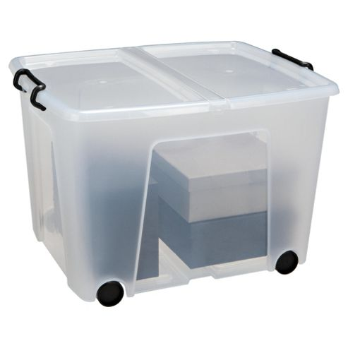 Strata 75 Litre Plastic Storage Box with Lid and Wheels