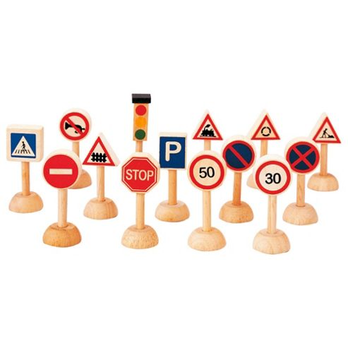 Plan Toys Traffic Signs & Lights Wooden Toy Set