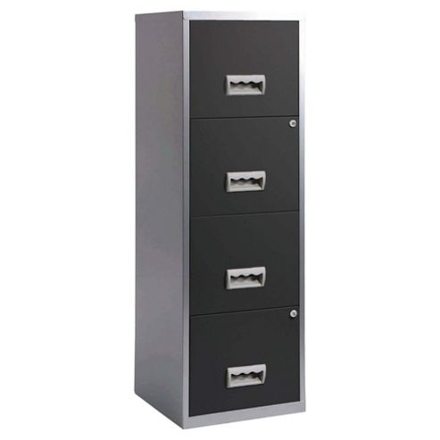 Pierre Henry A4 4 Drawer Maxi Filing Cabinet, Silver with Black Drawers