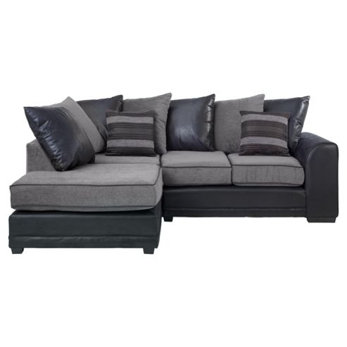 Inca Leather Effect & Fabric Corner Sofa, Charcoal Left Hand Facing