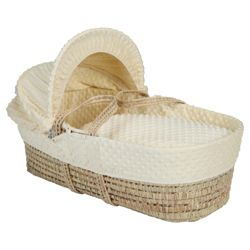 Clair de lune Dimple Moses Basket, Buttermilk