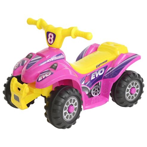 Evo ATV Quad Bike Electric Ride-On, Pink & Yellow