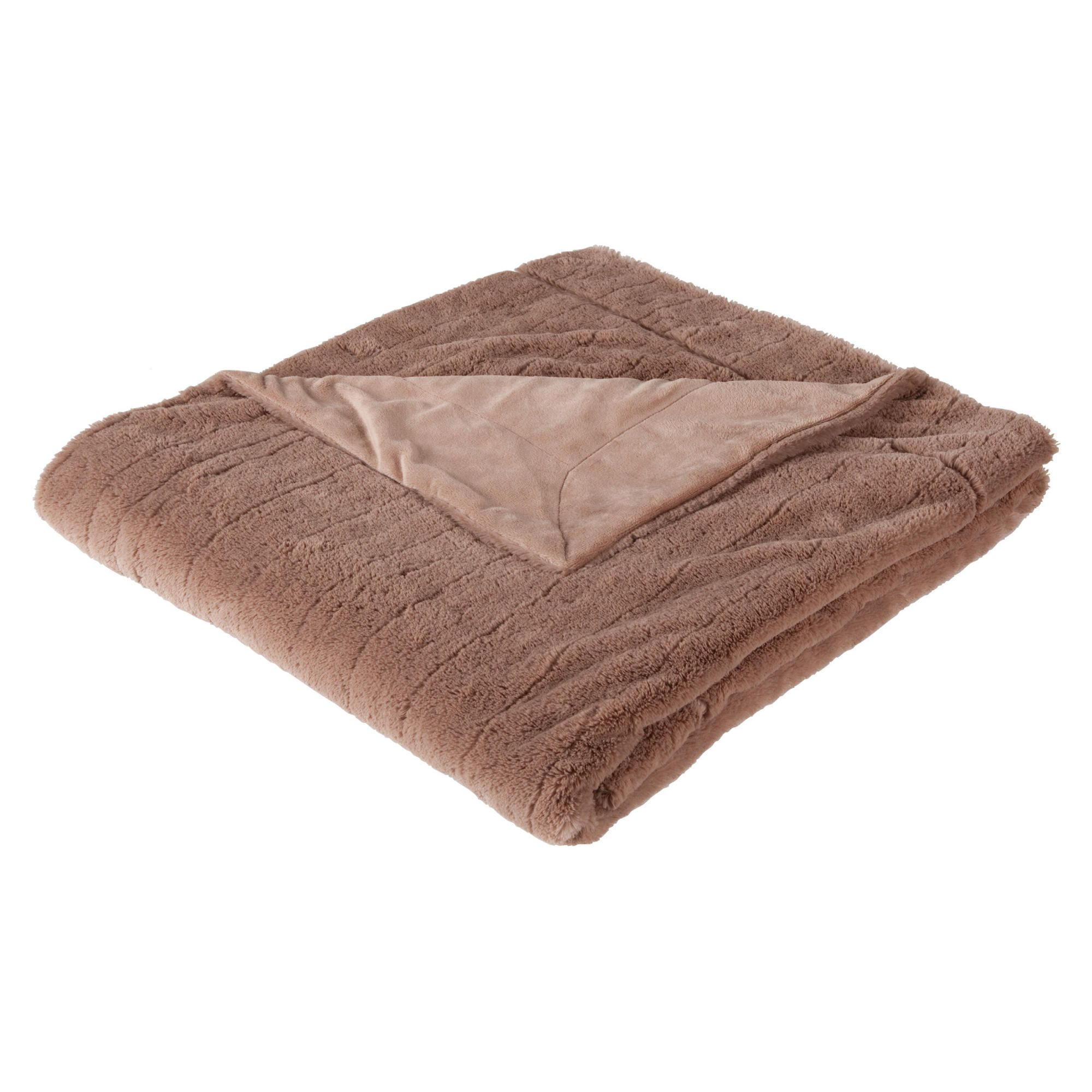Tesco ribbed faux fur throw mink