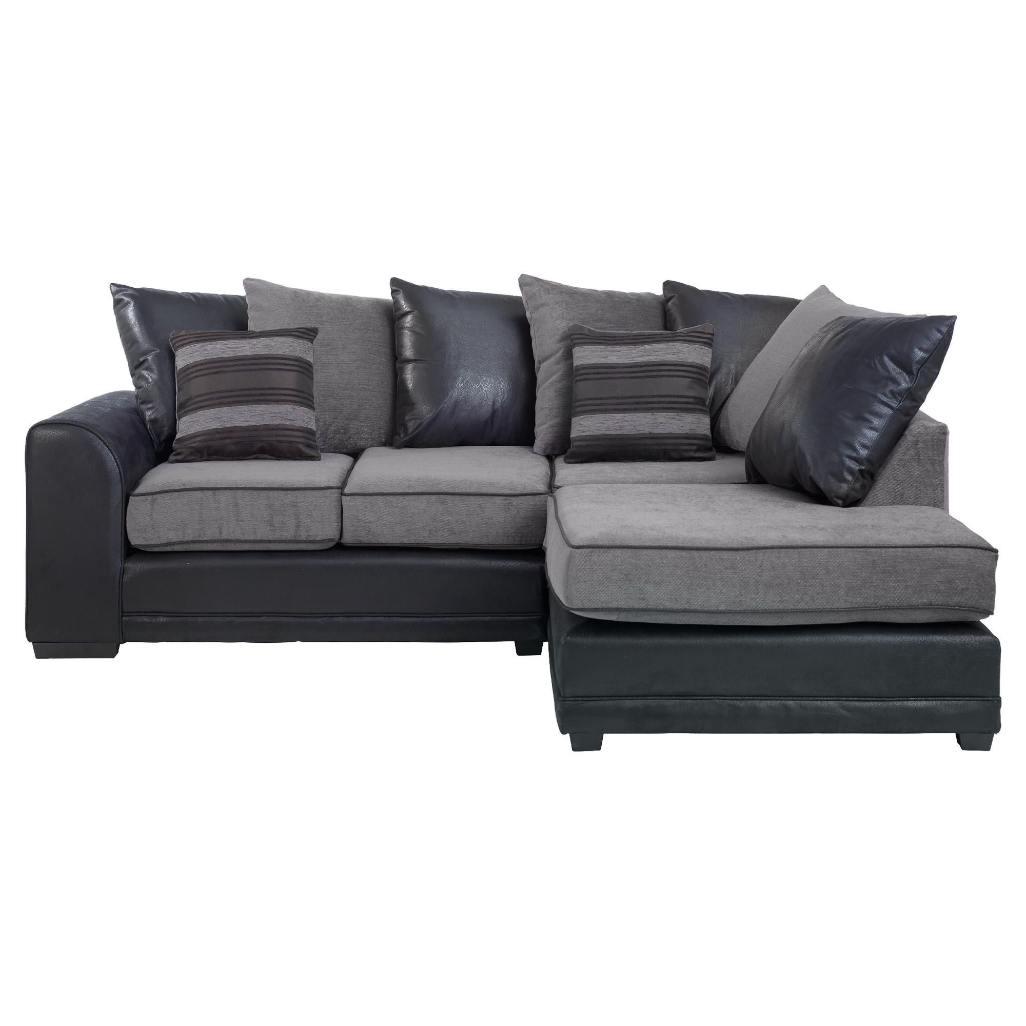 Inca Leather Effect & Fabric Corner Sofa, Charcoal Right Hand Facing at Tesco Direct