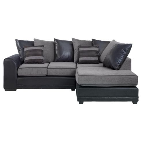 Inca Leather Effect & Fabric Corner Sofa, Charcoal Right Hand Facing