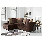 Ontario Fabric Corner Sofa, Chocolate Left Hand Facing