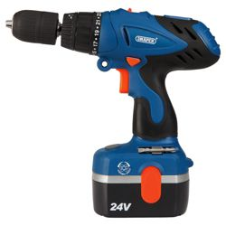 Draper 24V Cordless combi hammer drill kit with two batteries