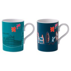 Royal Doulton London 2012 London Line Art Mugs of the Houses of Parliament and Tower Bridge