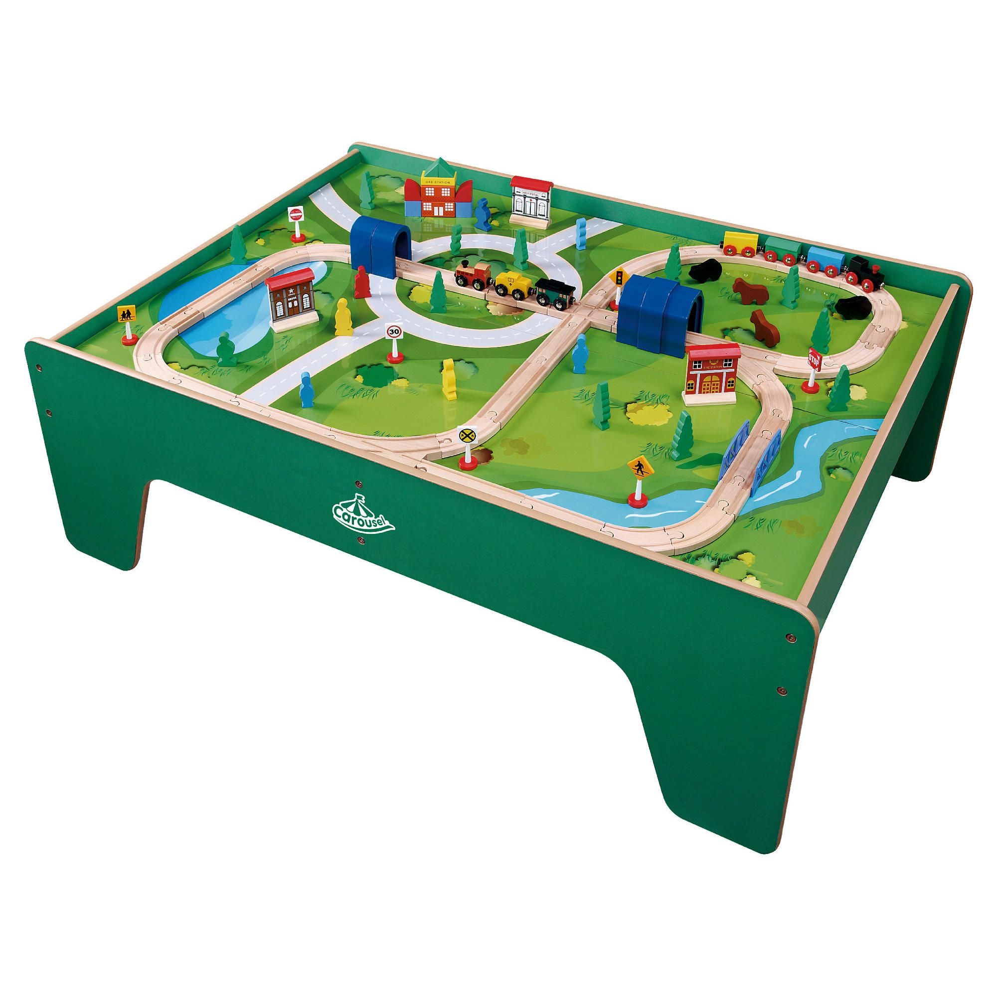 Carousel wooden train table with 100 piece train set new for 100 piece mountain train set and wooden activity table