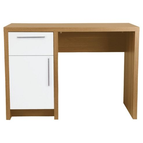 Manhattan Straight Desk, Oak Effect / White