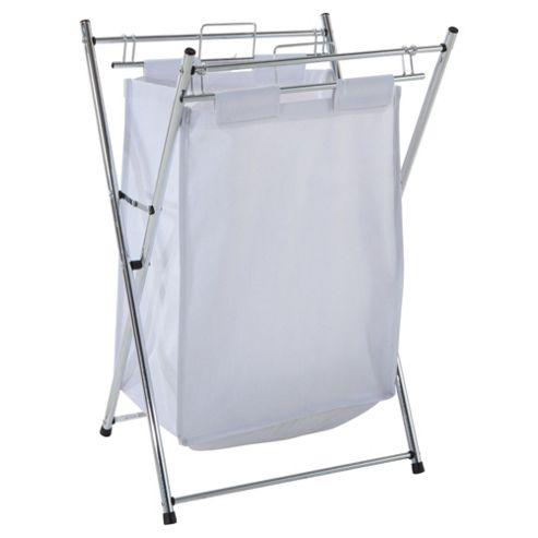 Tesco Chrome Laundry Basket With White Bag