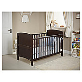 Obaby Grace 4 Piece Cot Bed Set, Dark Pine Cot Bed With Blue Bedding