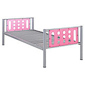 Domino Single Bed Frame, Silver With Pink Headboard