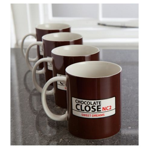 Tesco Street Sign Set of 4 Mugs, Brown