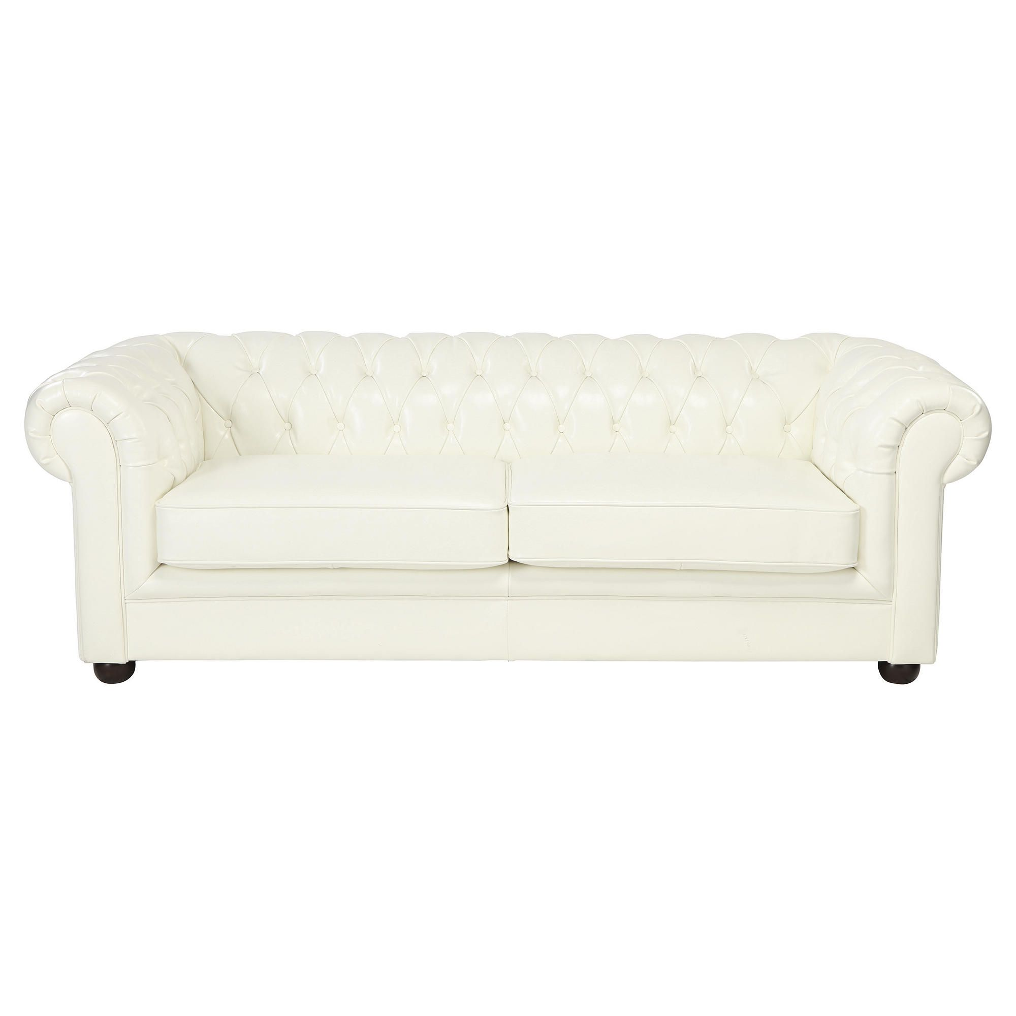 Chesterfield Large Leather Sofa, White at Tesco Direct