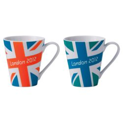 Johnson Bros London 2012 Union Jack Bright Mugs, Blue and Green