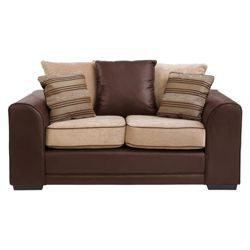 Inca Small Leather Effect & Fabric Sofa, Mocha