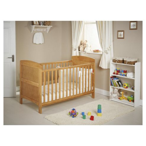Obaby Grace 4 Piece Cot Bed Set, Country Pine Cot Bed With White Bedding (includes mattress, quilt & Bumper)