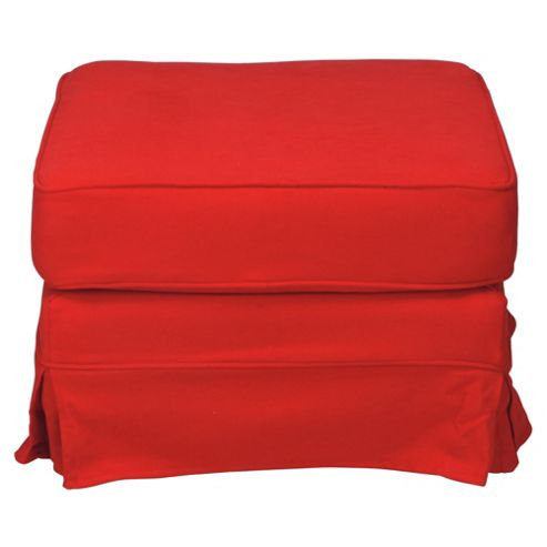 Louisa Fabric Footstool, Red Loose Cover