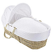 Clair de lune Dimple Moses Basket, White