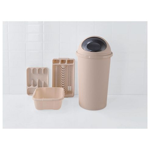Kitchen 4 Piece Starter Set, Includes Bin, Cutlery Tray, Bowl And Drainer - Cream