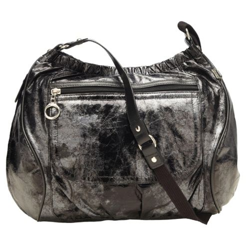 Oi Oi Across Body Metallic Faux Leather Bag, Black