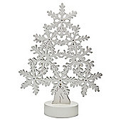 Wooden Snowflake tree with 10 warm white LED lights, white