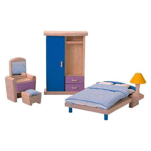 Plan Toys Bedroom Neo Dolls House Wooden Toy Furniture Set