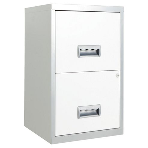 Pierre Henry A4 2 Drawer Maxi Filing Cabinet, Silver With White Drawers