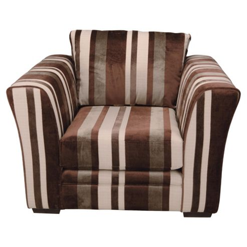 Ella Fabric Armchair, Chocolate Stripe