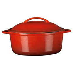 Go Cook Professional 28cm Cast Iron Stockpot, Red