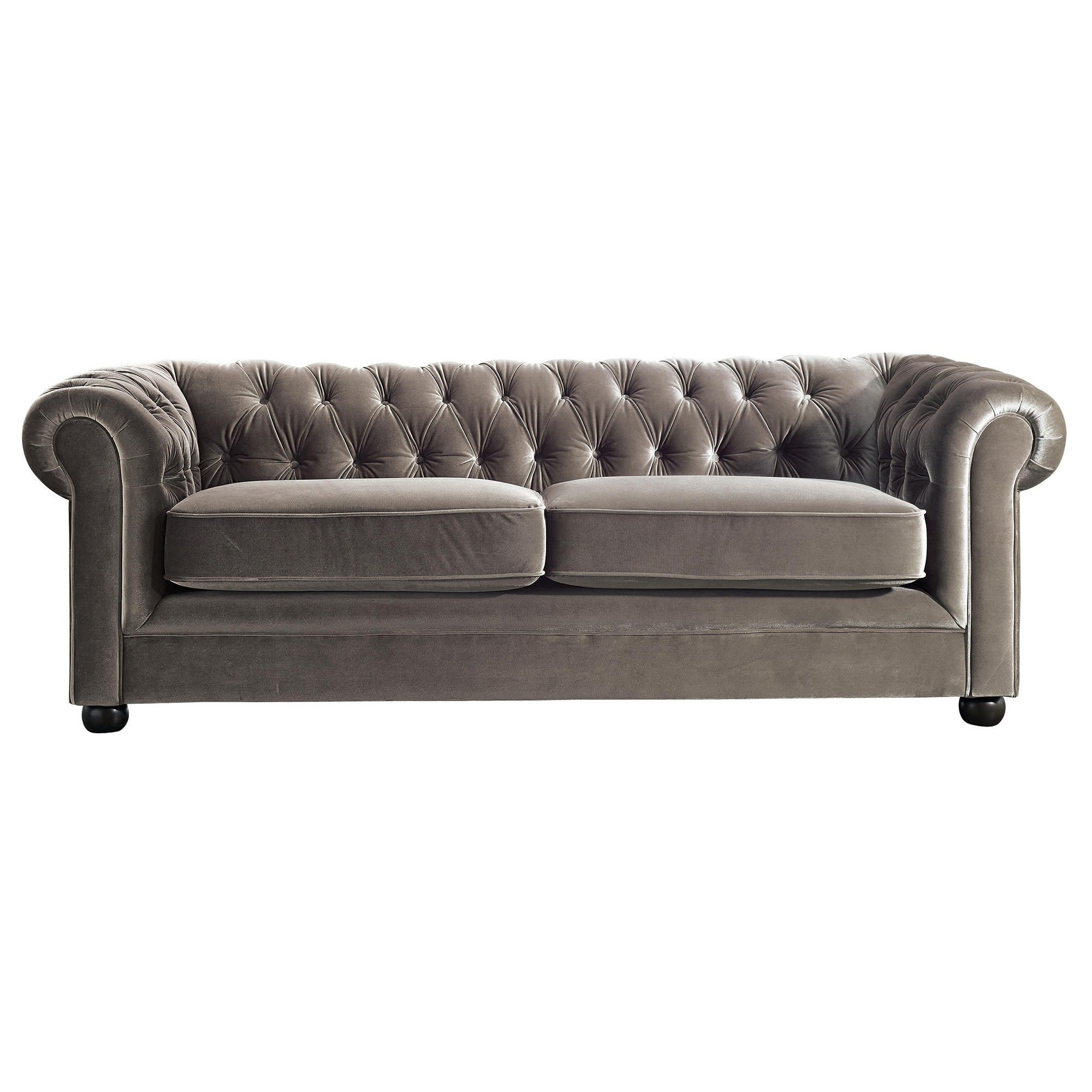 Chesterfield Velvet Medium Sofa, Mink at Tesco Direct