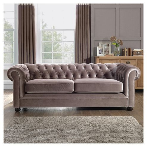 Chesterfield Velvet effect Medium Sofa, Mink