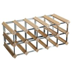 Ready To Assemble 15 Bottle Wine Rack, Natural Pine