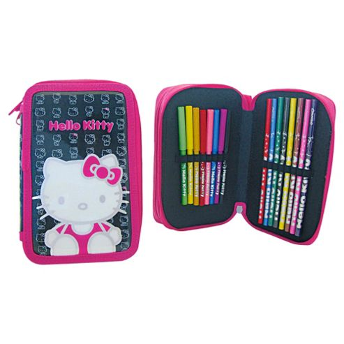 Hello Kitty Silouette Double Tier Filled Pencil Case