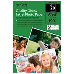 Tesco 190gm 6X4 Photo Paper - 20 Sheets