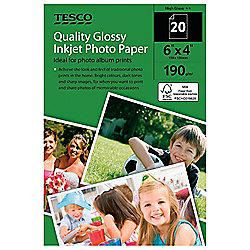 Tesco 190gm 6X4 Photo Paper - 20 Sheets