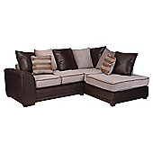 Inca Leather Effect & Fabric Right Hand Facing Corner Sofa, Mocha