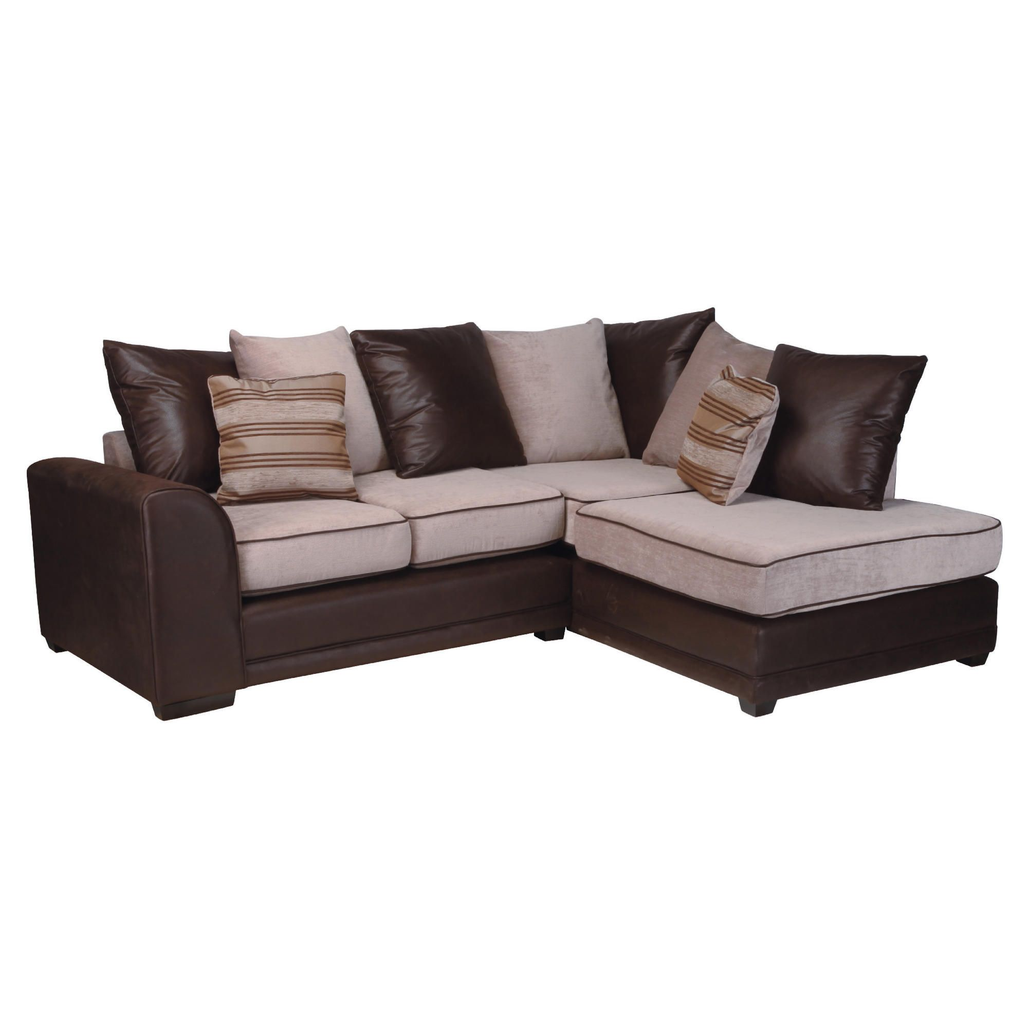 Inca Leather Effect & Fabric Right Hand Facing Corner Sofa, Mocha at Tesco Direct