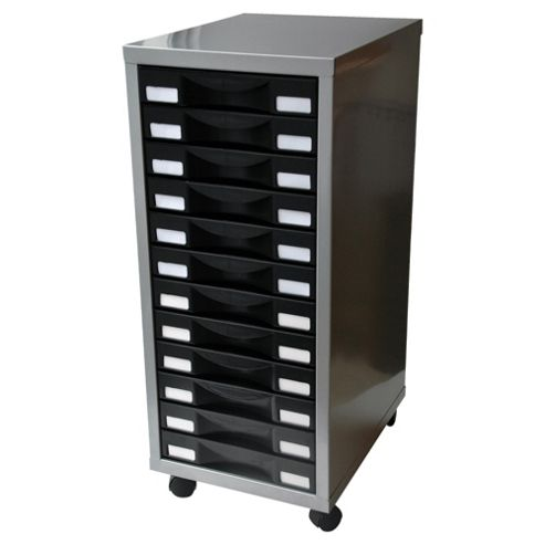Pierre Henry A4 12 Drawer Multi Filing Cabinet, Silver with Black Drawers