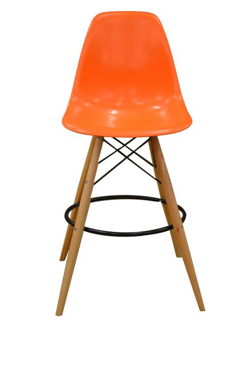Charles Eames Style DSW Orange Bar Stool