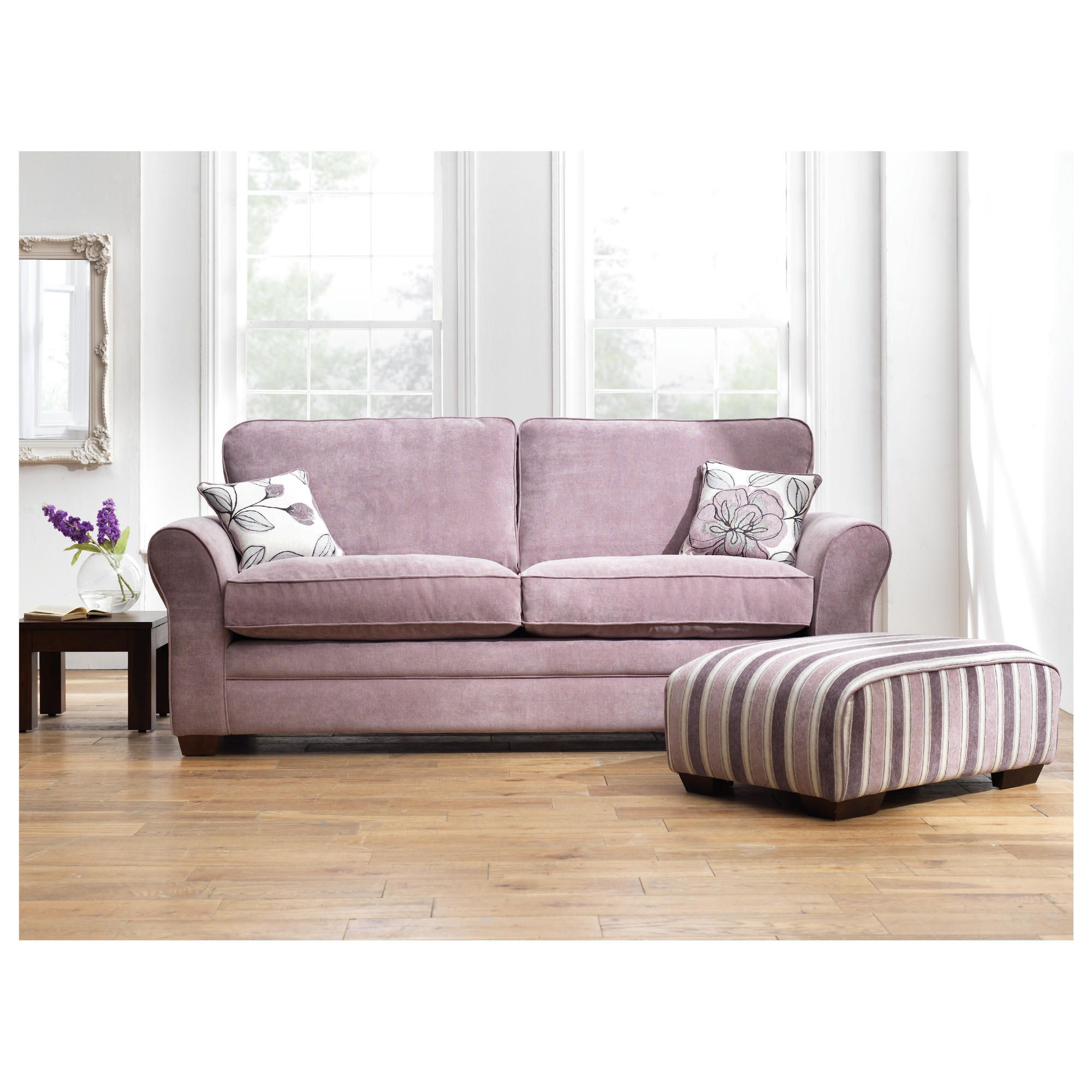 Amelie Large Standard Back Fabric Sofa, Lilac at Tesco Direct
