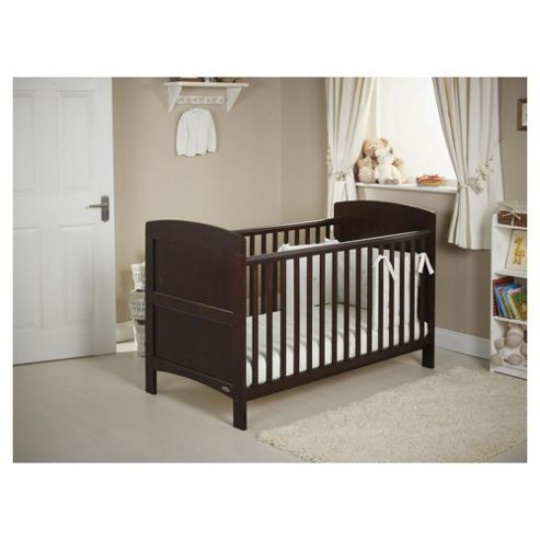 Obaby Grace 4 Piece Cot Bed Set, Dark Pine Cot Bed With White Bedding (includes mattress, quilt & bumper)