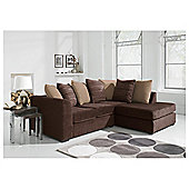 Ontario Fabric Corner Right Hand Facing Sofa, Chocolate