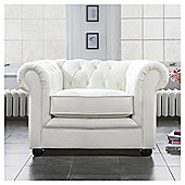 Chesterfield Leather Armchair White