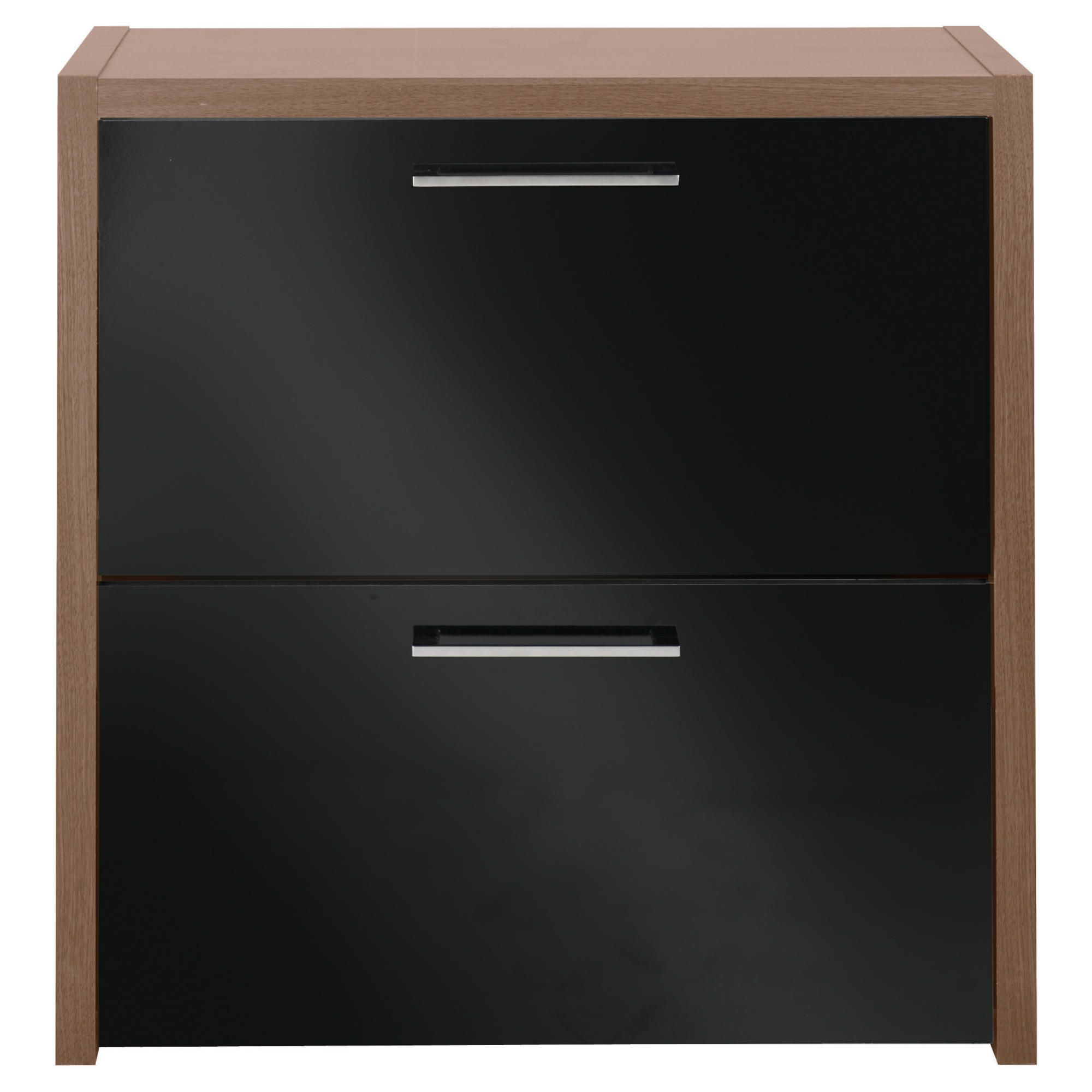 Tesco Manhattan Shoe Storage, Walnut Effect/ Black Gloss