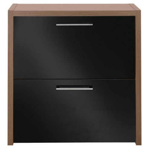 Manhattan Shoe Storage, Walnut Effect/ Black Gloss
