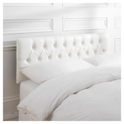 Preston Double Faux Leather Headboard, White